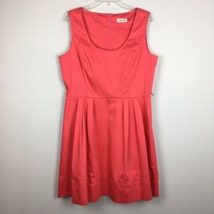 Calvin Klein Coral Fit & Flare Belted Dress. 14